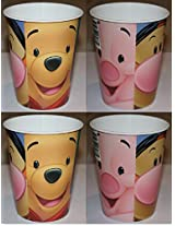 Disney Winnie The Pooh Plastic Cups With Face Of Pooh Tigger Piglet Eeyore 4 Cups