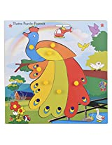 Skillofun Wooden Theme Puzzle Standard Peacock Knobs, Multi Color