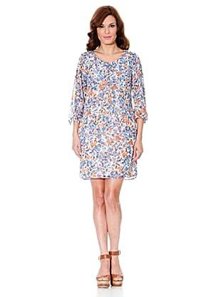 Cortefiel Kleid Print (Blau/Orange)