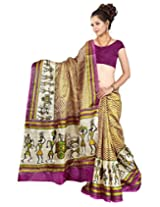 Somya Women's Bhagalpuri Silk Printed Brown Saree