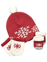 Country Kids Baby-Boys Newborn Snowflake Merino Wool Hat Set, Red, 0-12 Months