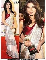Priyanka Chopra Beige Net Sari At Screen Award