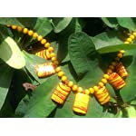 yellow tribal bead necklace