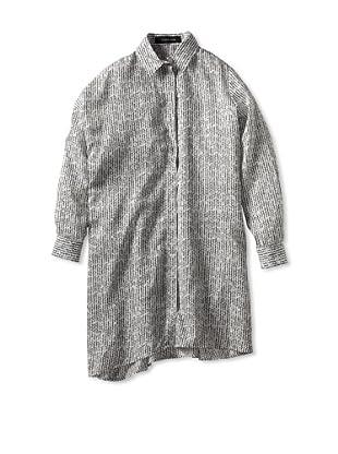 THAKOON Women's Tricot Print Asymmetric L/S Shirtdress (Black/White)