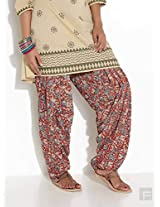 Block Printed Patiala-Red-M