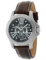 Christian Audigier Unisex ETE-110 Eternity Leather Twin Bird Stainless Steel Watch