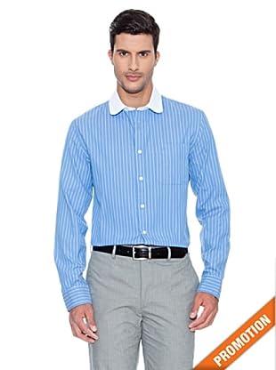 Dockers Camisa Cuello Redondo Rayas (Azul)