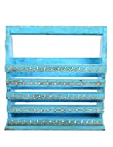 Fashionable Sky Blue Wood Magazine Holder Vintage Hand Painted By Rajrang