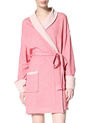 Aegean Apparel Women's Sweatshirt Robe, Heather Grey (Heather Fuchsia)