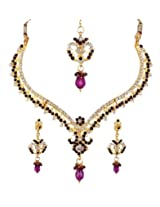 Sharnam Art Attractive Maroon And White Rhinestone Designer Necklace With Earrings For Women - 804_p