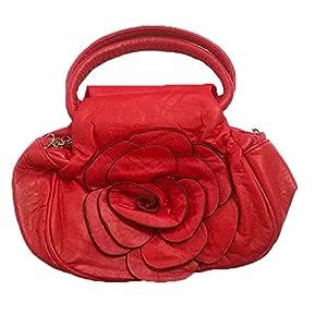 Stylish Rose Design Girls Cross Hand Bag Clutch Money Purse for Women - Red