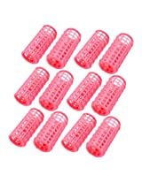 12 Pcs Pink Plastic DIY Hairdressing Roller Curlers Clips for Woman