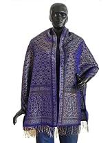 DollsofIndia Purple Pure Silk Banarasi Brocade Stole with Silver Zari Weaved Design - Silk - Mauve