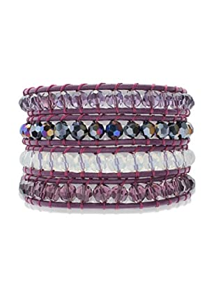 Lucie & Jade Echtleder-Armband Glaskristall violett/weiß/bunt