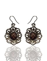 Optionsz Floral Theme Brown Color Beaded in Center Desingner Round Shape Elegent Hanging Dangle Earring , OPTERJPAZ211