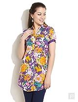 Button Down Floral Kurti-Multi Colour-S