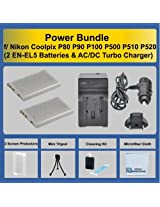 Power Bundle by eCost 2 EN-EL5 Batteries + AC/DC Turbo Charger with Travel Adapter + Complete Deluxe Starter Kit for Nikon Coolpix P80 P90 P100 P500 P510 P520 Camera