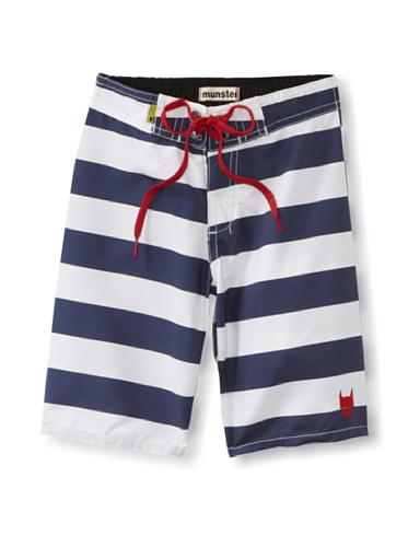 Munster Kid's Offset Board Shorts (White & Blue Stripe)