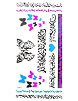 Spestyle Temporary Jewelry Tattoos Blue And Silver Fluorescent Metallic Jewelry Tattoo Colorful Butterflies And Ancient Words