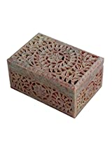 Store Indya Diwali Gifts for Her Hand carved Square Shaped Box Soapstone Carving Lattice Design Home Accent Gifting Decorative Table Top Accessory