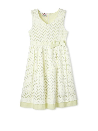 Jellybean of Miami Girl's Plus Size Daisy Eyelet Dress (White/Yellow)