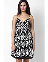 Black Colored Printed Skater Dress New Look