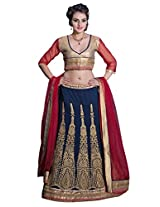 Manvaa Royal Blue And Red Georgette Embroidered Lehenga