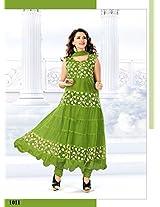 VandV Latest New Collection Green Anarkali Suits SEM385-1011