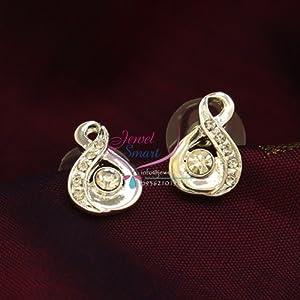 Silver Plated Diamond Look Immitation Tops Earrings Press Lock Fashion Jewellery