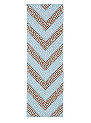 Kaleen Matira Indoor/Outdoor Rug, Light Blue, 2' x 6' Runner