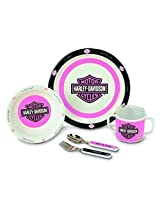 Kids Preferred Harley Davidson Melamine Feeding Set, Pink By Kids Preferred