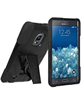 Amzer Double Layer Hybrid Case Cover with Kickstand for Samsung GALAXY Note Edge SM-N915 - Retail Packaging - Black
