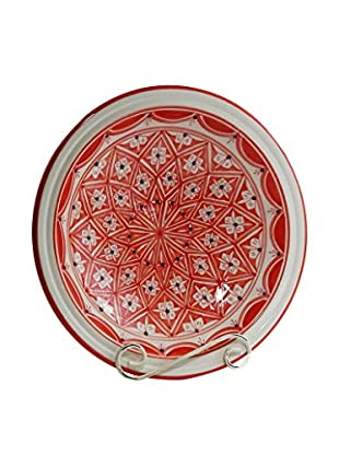 Le Souk Ceramique Nejma Small Serving Bowl, Red/White