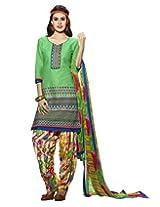 Kvsfab Green Pure Cotton Cambric Salwar Kameez