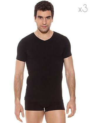Pierre Cardin Pack 3 Camisetas V Manga Corta (Negro)