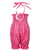 Little Darling - Halter Neck Smocket Pink Romper