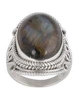 925 Sterling Silver Labradorite Ring - Size 8