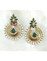 Vidhi Green Stone with Pearl in Antique Gold Plated Chandbali Earrings