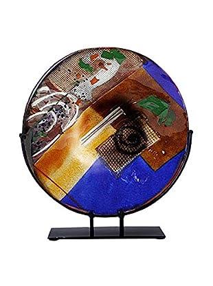 Jasmine Art Glass Round Platter with Metal Stand, Blue/Brown/Gold