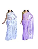 MemSahiba Women Semi-Chiffon Saree set of 2 (MS-1085-1047)