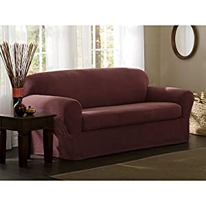 Maytex Stretch Reeves 2-Piece Slipcover, Sofa, Red