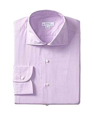 Orian Men's Slim Fit Washed Wide Spread Collar Poplin Microcheck Dress Shirt (Purple)