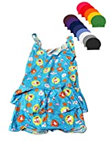 Skyblue Frock Swim wear with Cap for Girls age 2-4 years
