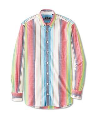 Gitman Blue Men's Variegated Multicolor Stripe Sportshirt (Beige)