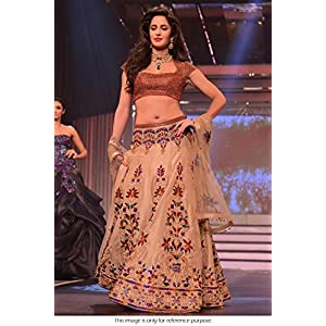Bollywood Replica Katrina Kaif Net and Silk Lehenga In Cream Colour NC413