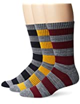 UNIONBAY Men's 3 Pack Rugby Stripe Crew Socks, Red/Blue/Orange, 10-13/Shoe Size 6-12