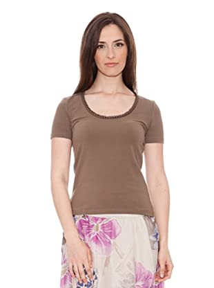 Diktons Camiseta Aplicación Escote (Marrón Claro)