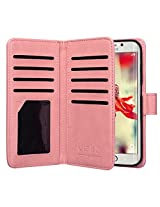 ULAK Galaxy S6 Edge Case 9 cards Slot Slim PU Leather Stand Wallet Flip Protector Cover with ID & Credit Card Pockets for Samsung (Coral Pink)