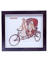Cycle Rickshaw Wood Carving Frame