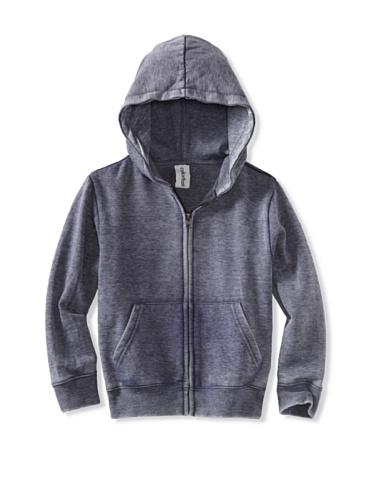 Colorfast Apparel Boy's Burnout Zip Hoodie (Navy)